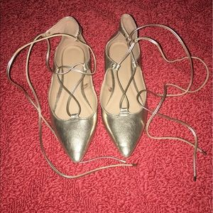 Old navy laced-up gold flats, size 8