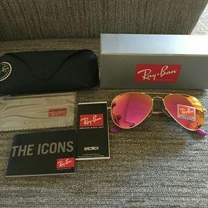 Pink and gold rayban aviator sunglasses size 58