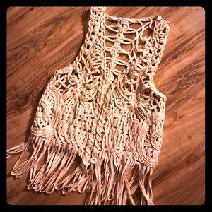 Crochet Bar lll fringe vest.