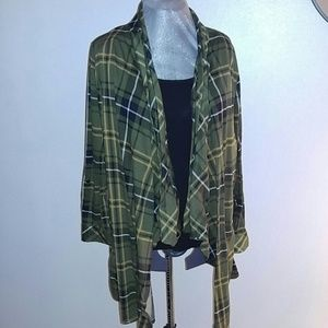 French Laundry Sweaters - Plus size hunter green plaid cardigan