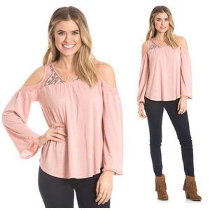 love on a hanger Tops - NWT Shimmer Embroidered Cold Shoulder Top