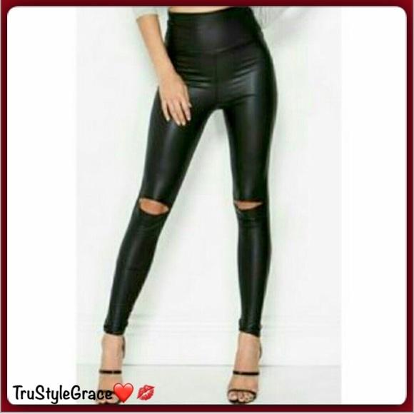 e72642602f445 Pants   Sexy Liquid Vegan Leather Cutout Knee Leggings   Poshmark