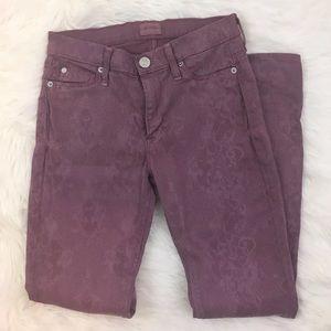 Hudson Jeans Denim - Hudson Mauve Snakeskin Stretch Skinny Jeans