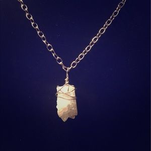 White Druzy wire wrapped stone necklace