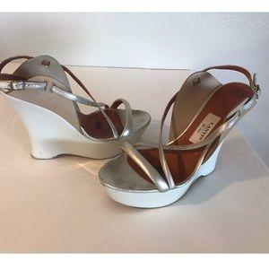 Lanvin Shoes - Lanvin White Silver Wedges