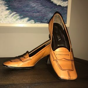 Prada Linea Rossa Shoes - PRADA Penny Loafer Square Toe Shoes, size 35.5