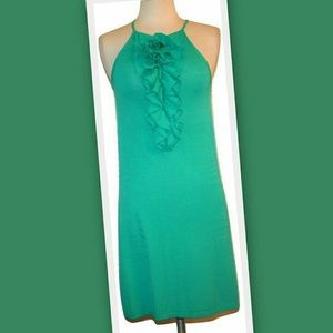 ruffle front knit dress in aqua