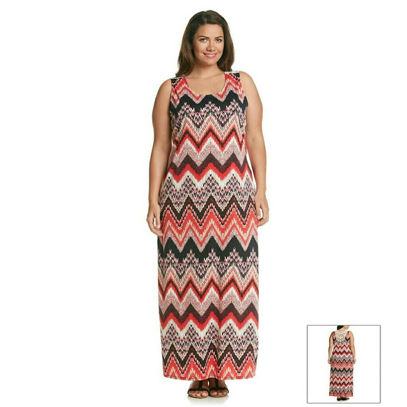867253cf30 Notations Plus Size Chevron Print Crochet Dress