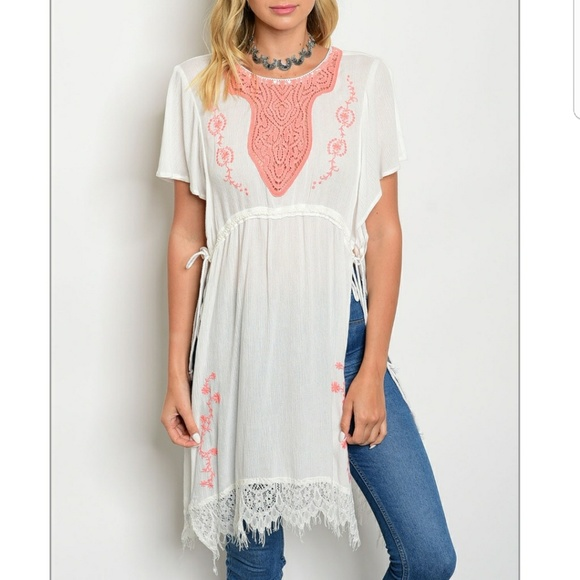 9969a9936c0757 Esley Tops | Half Off Sale Crochet Embroidered Side Tie Tunic | Poshmark