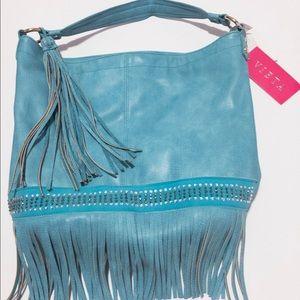 bohme Handbags - Boho Indian Turquoise Leather Handbag Fringe