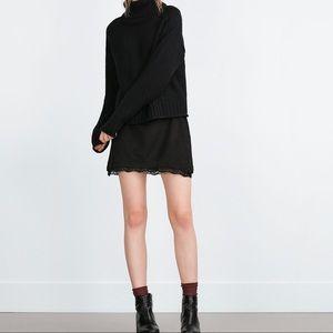 Zara Dresses & Skirts - ZARA Black Faux Suede Lace Trim Mini Skirt