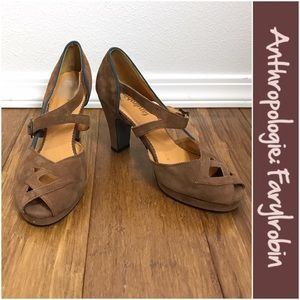 Anthropologie Shoes - Anthro Suede Cutout Heels