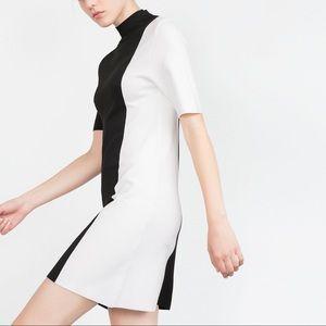 Zara Dresses & Skirts - ZARA Woman Colorblock Mock Neck Short Sleeve Dress