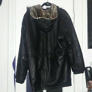Punk Vintage Leather Cheetah Fur Jacket