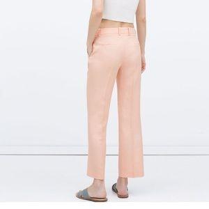 ZARA Woman Peach Linen Blend Cropped Trousers