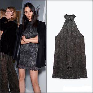 Zara Dresses & Skirts - ZARA Woman Shimmer Neck Tie Sleeveless Mini Dress