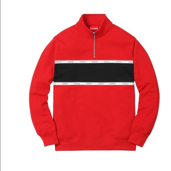040adce2ace6 men s supreme red logo tape stripe quarter zip