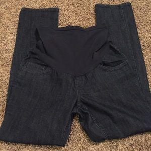 Indigo Blue Denim - Dark denim maternity jeans size medium