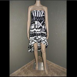 Seneca Rising Dresses & Skirts - Black and White Strapless Hi-Lo Dress
