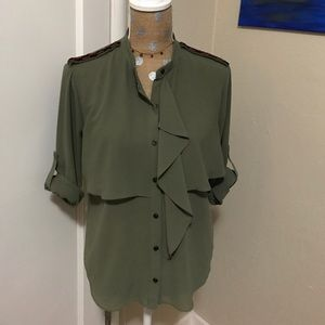 Tops - Olive beaded shoulder top