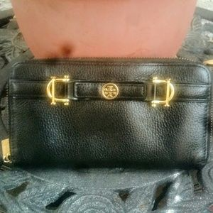 "Tory Burch Handbags - Like New! TB Black ""Continental"" Zip Around Wallet"
