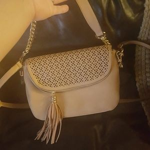 Small tan/blush satchel bag