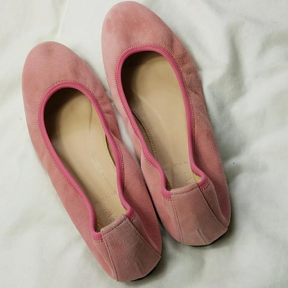 77c2ec08b88 J. Crew Shoes - J. Crew Pink Suede Lea Ballet Flats