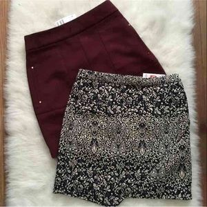 Size 6 Mini Skirt Bundle Burgundy Navy Print