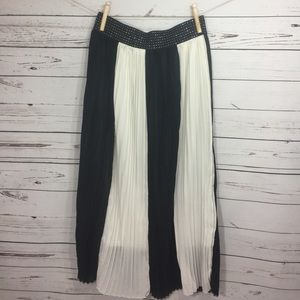 magic Dresses & Skirts - Long Black And White Striped Pleated Skirt 1X