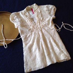 HeartSoul Tops - Short Sleeve Cream Lace Ruffled Shirt, Juniors S
