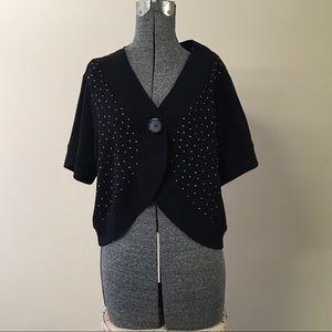 Sweaters - Black Rhinestone Shrug Cardigan 2X