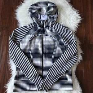 lululemon athletica Tops - Lululemon Black and White Stripped Scuba Hoodie