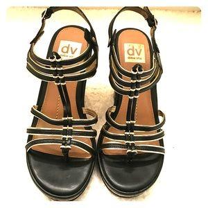 Dolce Vita Wedge Cork Sandal in Black and Gold