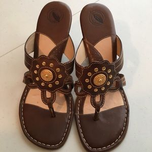 Nurture Shoes - Nurture Brown Leather Sandals with Gold Accent