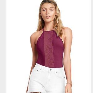 VS Pink high neck lace bodysuit