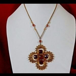 Vintage Maltese Cross Necklace  1940s