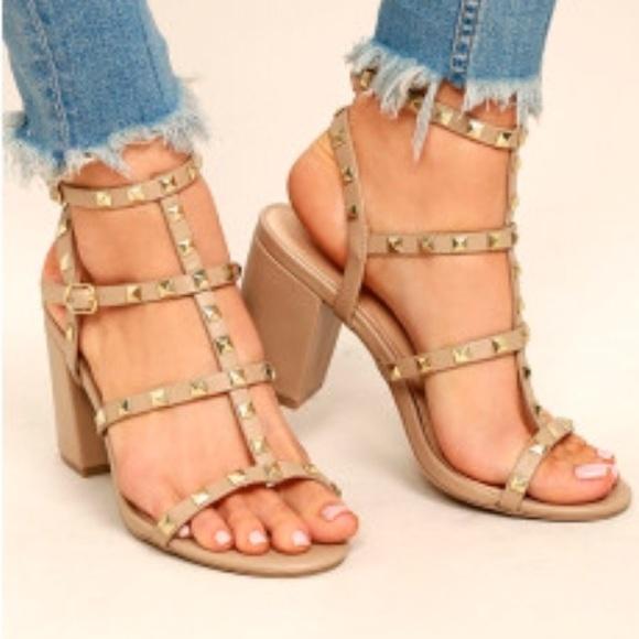 9ed5cb43ff7 Studded caged block heel sandals