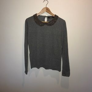 Sweaters - Sparkly Beaded Collar Sweater