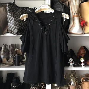 Black lace up cold shoulder top