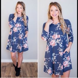 Cloud 9 Tops - Winter Rose Tunic Dress w Pockets
