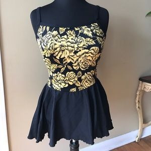 Maxine of Hollywood Other - Maxine Of Hollywood Yellow Floral Swimsuit Size 14