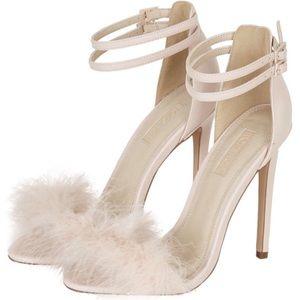 pink topshop fur ankle strap heels