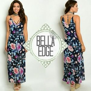 Bella Edge Dresses & Skirts - 🆕 Blue pink floral cross strap maxi dress