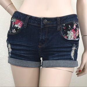 Pants - 3/$15 Denim Shorts With Floral Design Rip Detail