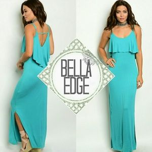Bella Edge Dresses & Skirts - 🆕 Teal ruffle maxi dress