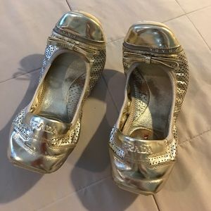 2 hour saleGold Prada flats size 8.5