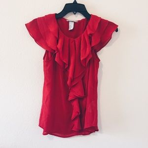 H&M Red Sheer Blouse - Size 4 