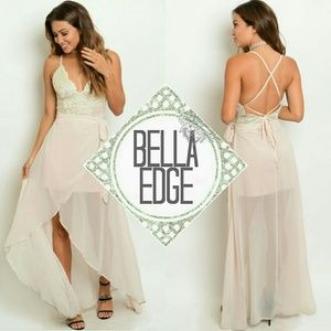 Bella Edge  Dresses & Skirts - Blush lace chiffon skirt dress