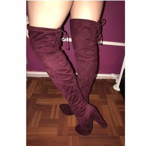 Unisa Shoes - UNISA BURGUNDY THIGH HIGH BOOTS