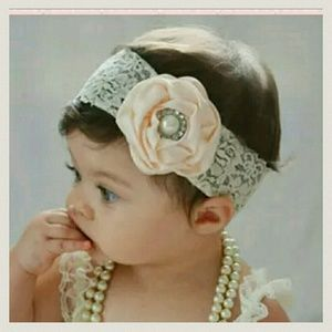 Other - 3 for $10 sale!  Baby Girls Lace Flower Headbands